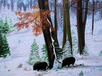 Wildschweine im Winterwald von Gräfin Vroni von Burgstein
