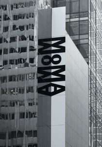 Large MoMA Banner on Mirrored Exterior Wall of the Museum by Robert Englebright