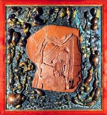 Ton Platte (Raku-Keramik-Collage, Mischtechnik) by Heinz-Friedrich Kaiser