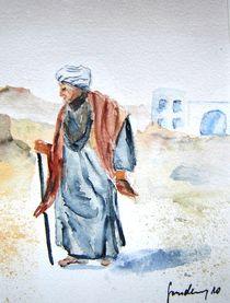 Ägypter mit Turban und Stock von sura