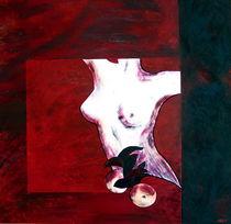 weiblicher Akt in Rot mit Früchten von nele