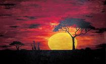 Afrika Sonnenuntergang Baum und Giraffen von nele