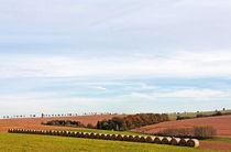 Herbstlandschaft mit Strohballen von spiritofnature