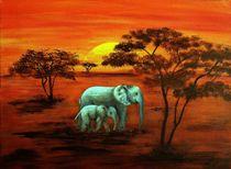 Elefantenmama mit Baby von Maria Arato Magri