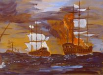 seeschlacht mit brennendem schiff by manfred richter
