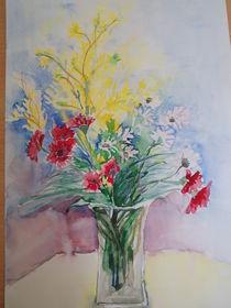 Blumenvase mit Frühlingsblumen  by Eva Jacqueline Weniger