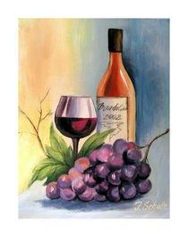 Weinflasche mit Traube von Irena Scholz