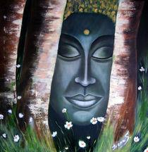Waldbuddha Ölmalerei auf Leinwand von Irena Scholz