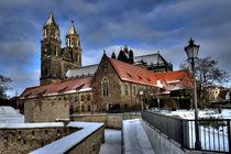 Magdeburger Dom und Festungsanlage Cleve im Winter von magdeburgerin