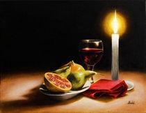 Stillleben mit Kerze, Wein und Früchten von Patrick Mohl