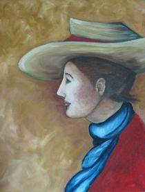 Frau mit blauem Schal von Gabriele Schilling