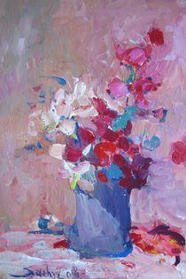 ETÜDE 1 Blumenstillleben in rosa-weis-blau by Gerhard Sachse