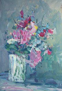 ETÜDE 2 Blumenstillleben in grün-rosa von Gerhard Sachse