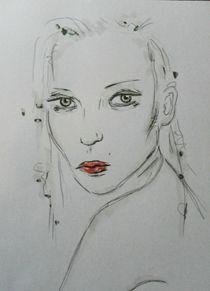 menschen,frau,portrait,zeichnung,bunt,rote lippen von nike