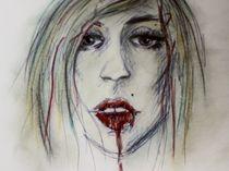 Frau Portrait Mund rote Lippen Blut by nike