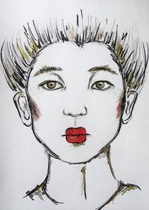 geisha,japan,asiatisch,frau,rote lippen,portait, by nike