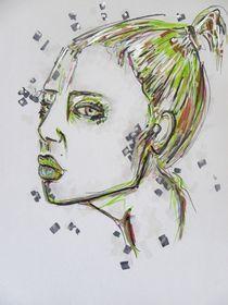 Portrait,Frau,Menschen,grün,Zeichnung,bunt by nike