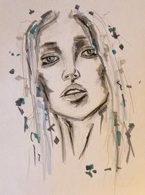Frau,Portrait,Menschen,Erwartung,Zeichnung,bunt by nike