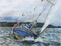 Segelschiff im Sturm von Sabine Berger