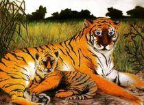 Tigermama mit Baby von Stephanie Blodau