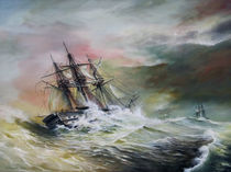 Man of War in Heavy Seas by Arthur Williams