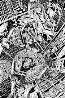 Die Bibliothek - Tusche von Guido Paul