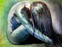 weiblicher Akt, sitzend. grün by Birgit Summa