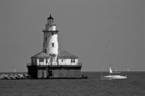 Chicago Lighthouse B&W by Ian C Whitworth