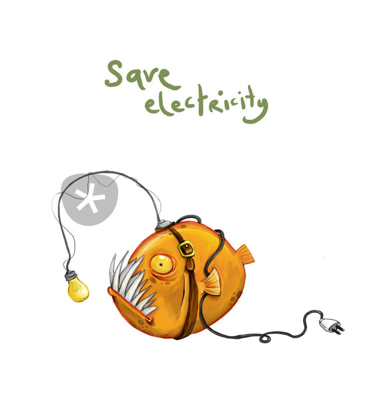 Save Electricity Drawing Art Prints And Posters By Yasemin Ezberci