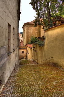 The Green Cobbled Yard by Len Bage