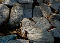 Buddhist Sanscript on Rocks by Wallace Lam
