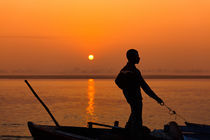 Boatsman on the Ganges by Stefan Nielsen