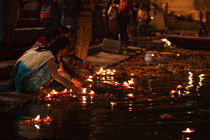 Lamps in the Ganges- 5  Varanasi,India by Soumen Nath