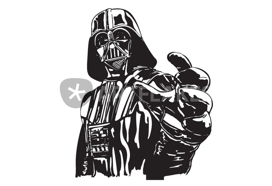 Darth vader mac book cover sticker graphic illustration for Darth vader black and white