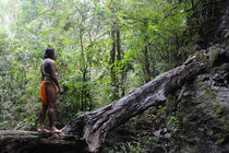The embera man and the tree trunk by Victor Santamaria Gonzalez