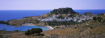 High angle view of a town, Acropolis, Lindos, Rhodes, Greece by Panoramic Images