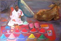 colorful powders for Holi, India by Elena Malec