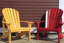 roter und gelber Adirondack Stuhl by Willy Matheisl