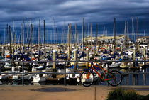 Red Bike in Harbor von Julie Hewitt