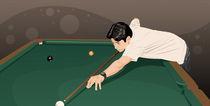 Man playing pool by Kazuo Kubo