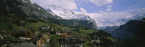 High angle view of a village on a hillside, Wengen, Switzerland by Panoramic Images
