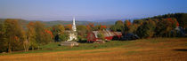 Church and a barn in a field, Peacham, Vermont, USA von Panoramic Images