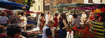 Group of people in a street market, Ceret, France von Panoramic Images