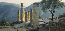 High angle view of ruined columns, Temple Of Apollo, Delphi, Greece by Panoramic Images