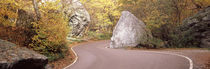 Road curving around a big boulder, Stowe, Lamoille County, Vermont, USA by Panoramic Images
