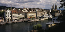 High angle view of buildings along a river, River Limmat, Zurich, Switzerland by Panoramic Images