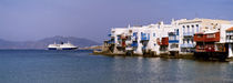 Buildings at the waterfront, Mykonos, Cyclades Islands, Greece by Panoramic Images