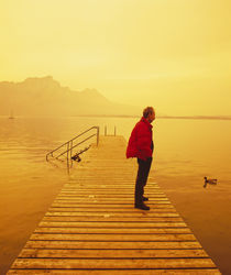 Side profile of a mid adult man standing on a pier, Austria von Panoramic Images