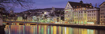 Switzerland, Zurich, River Limmat, view of buildings along a river von Panoramic Images