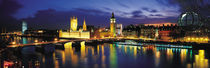 Buildings lit up at dusk, Big Ben, Houses Of Parliament, London, England by Panoramic Images